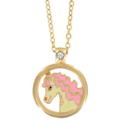 Goldtone and Enamel Animal European Crystal Horse Necklace