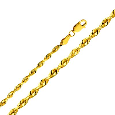 Precious Stars 14kt Yellow Gold 3mm Solid Rope Bracelet (8in)