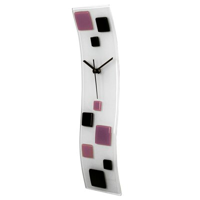 Glazed Wave Glass Art Wall Clock with Squares