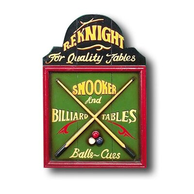 Hand-Carved Billiards Sign
