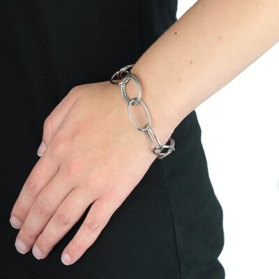 West Coast Jewelry Alternating Smooth and Braided Thin Hoop Bracelet
