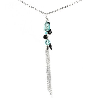 West Coast Jewelry Silvertone Glass Bead Drop Necklace