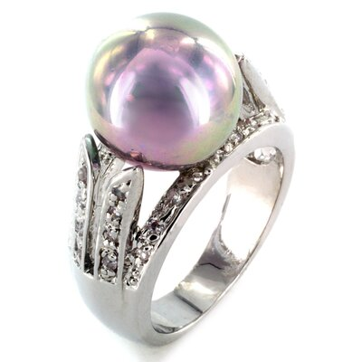 Silvertone Imitation Pearl and Cubic Zirconia Ring