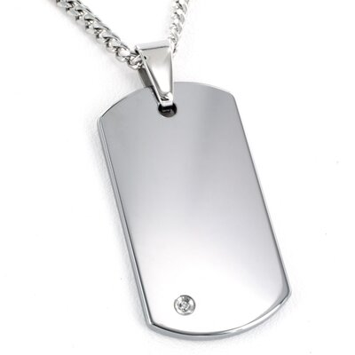 West Coast Jewelry Men's Tungsten Carbide Diamond Dog Tag Necklace