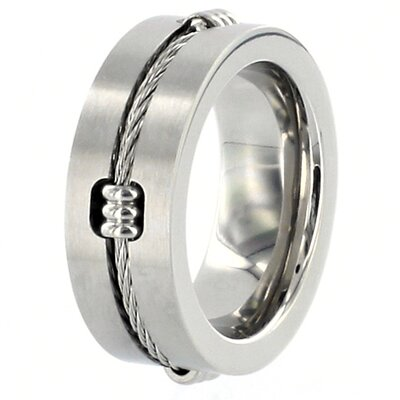Men's Stainless Steel Polished Cable Inlay Ring