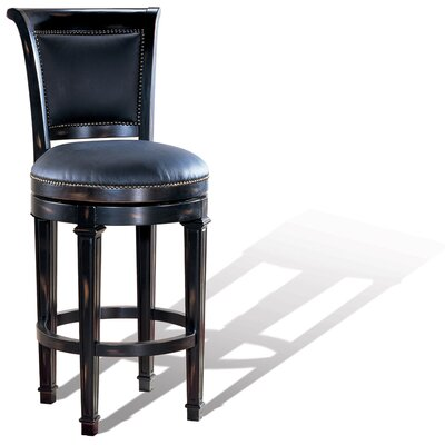 Legion Furniture Windsor Swivel Bar Stool in Distressed Ebony