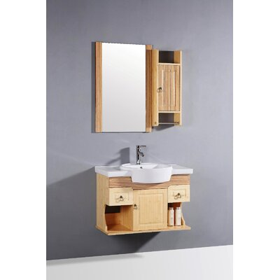 "Legion Furniture 31.5"" Single Bathroom Vanity Set with Mirror in Bamboo"