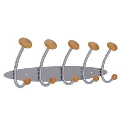Alba 5 Double Hook Metal / Wooden Wall Coat Hook