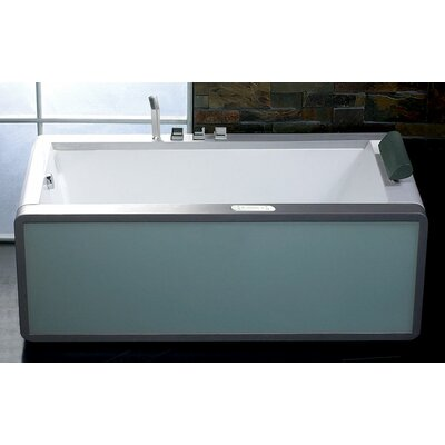"EAGO 70"" x 35"" Modern Whirlpool Bath Tub With Colored Light Up Glass Panel"