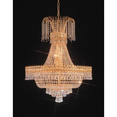 Crystorama Empire II Thirty Two Light Chandelier in 24K Gold Plated