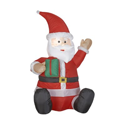 Airblown Outdoor Santa with Small Green Present