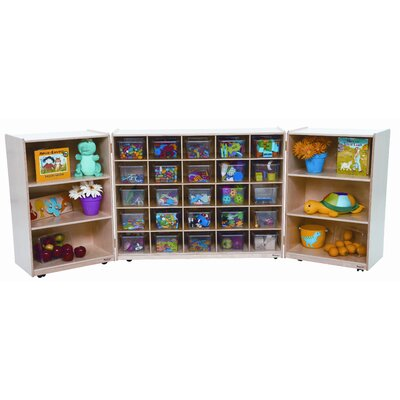 Wood Designs Tri Fold Storage Unit with Clear Trays