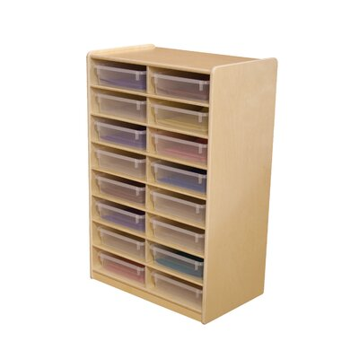 "Wood Designs Storage Unit with 3"" 16 Letter Trays"