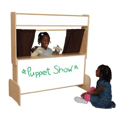 Wood Designs Natural Environment Puppet Theater with Brown Curtains
