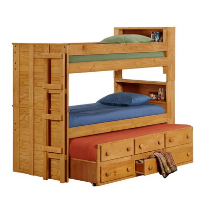 Twin Over Twin Standard Bunk Bed With Trundle Unit And