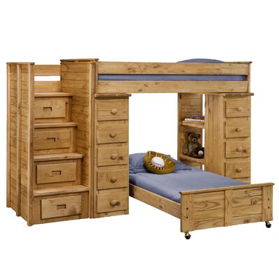 Chelsea Home Twin Over Twin L-Shaped Bunk Bed with Staircase