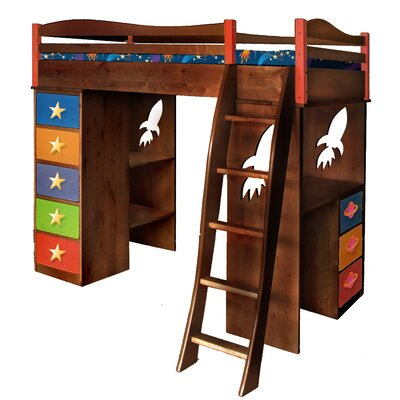 Room Magic Star Rocket Twin Loft Bed with Desk and Storage