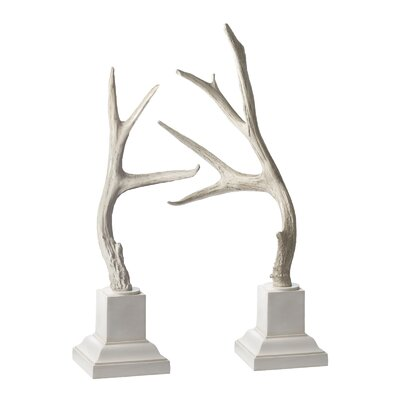 Lazy Susan USA Weathered Resin Buck Antler Set with Base (Set of 2)