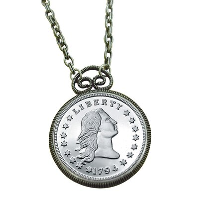American Coin Treasures Stella Flowing Hair Dollar Replica Coin Silvertone Pendant
