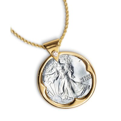 American Coin Treasures Walking Liberty Half Dollar Goldtone Pendant