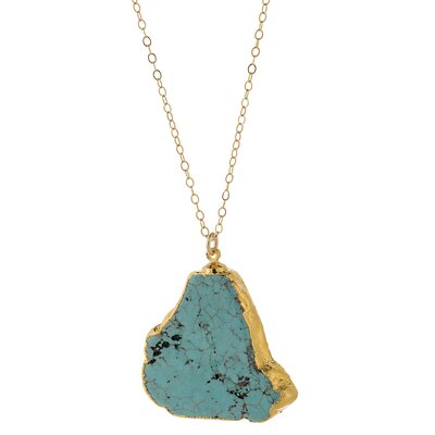 24K Gold Turquoise Magnesite Pendant Necklace