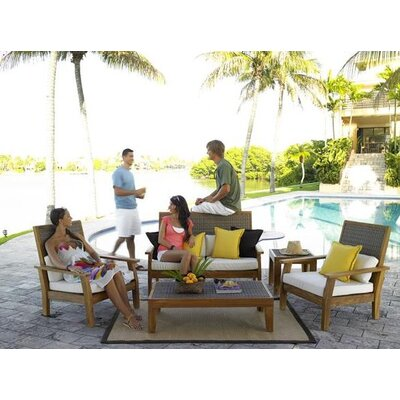 Panama Jack Outdoor Leeward Islands 5 Piece Lounge Seating Group with Cushions