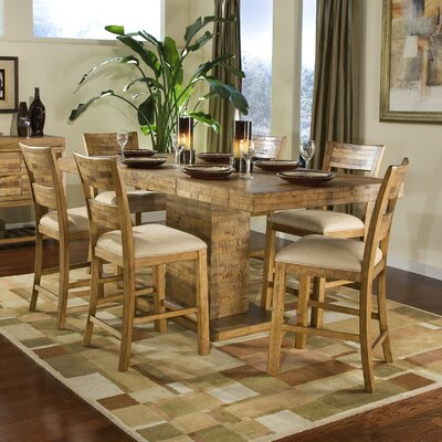 Legacy Classic Furniture Latitude Rectangular Pedestal Pub Dining Table in Distressed Natural Pine