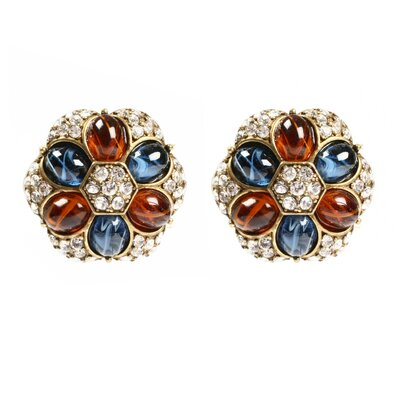 Ben Amun Maharaji Crystal Flower Earrings