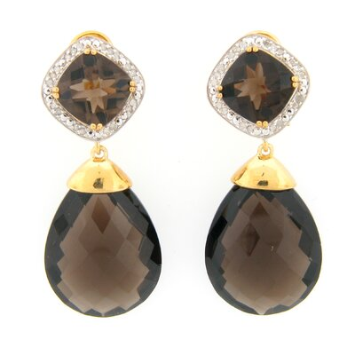 Meredith Leigh Designs Smoky Topaz and Diamond Dangle Earrings