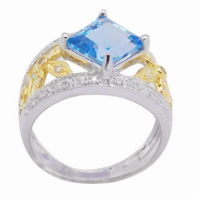 18K Gold and Silver Princess Cut Sapphire and Cubic Zirconia Ring