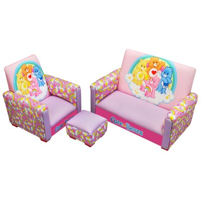 American Greetings Care Bears Rainbows Toddler Sofa, Club Chair and Ottoman Set