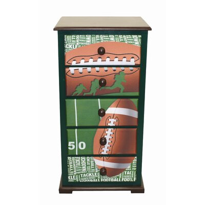 Newco Kids Football 50 yard Line 5 Drawer Chest