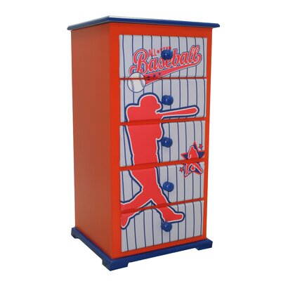 Newco Kids Baseball All Star 5 Drawer Chest