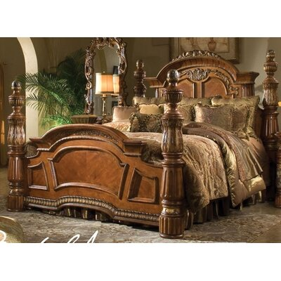 Michael Amini Villa Valencia Four Poster Bed Classic Chestnut Finish