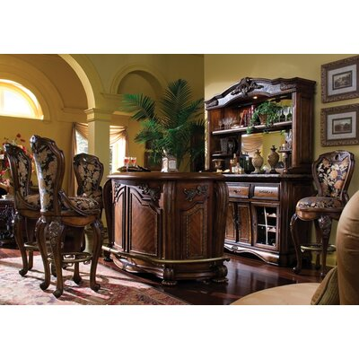 Michael Amini Oppulente Marble Top Bar with Barstools in Sienna Spice