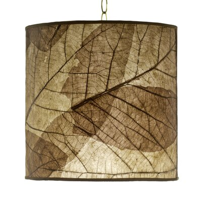 Foreign Affairs Home Decor Tectona Teak Leaf Round Hanging Drum Pendant