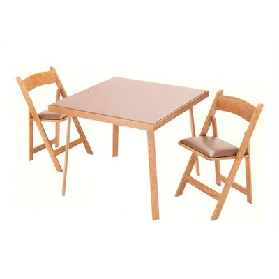 "Kestell Furniture 35"" Oak Folding Card Table Set"