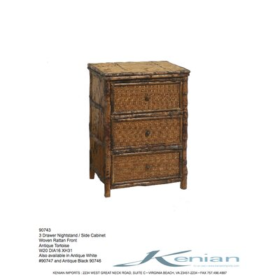 Kenian Coastal Chic 3 Drawer Nightstand