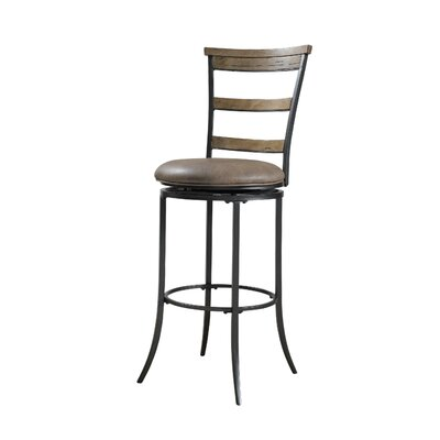 Charleston Ladder Back Swivel Bar Stool in Distressed Desert Tan