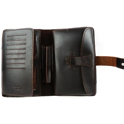 Universal Leather Wallet with Passport and Check Bifold Holder