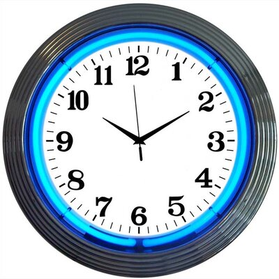 Neonetics Chrome Blue Neon Clock
