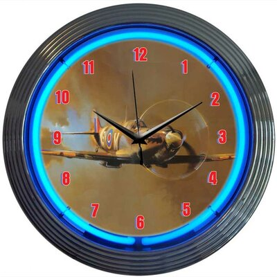 Retro WWII Spitfire Airplane Neon Clock