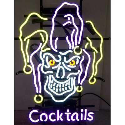 Neonetics Business Signs Jester Skull Cocktails Neon Sign