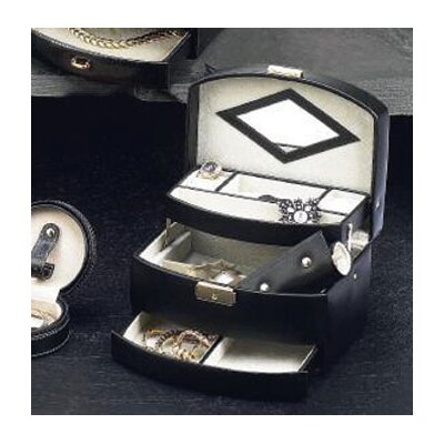 Three Level Jewelry Case in Black Leather