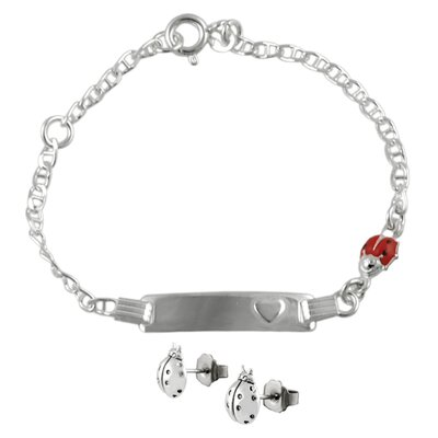 Kid's Lady Bug ID Bracelet and Earrings Set