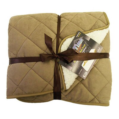 Midwest Homes For Pets Quiet Time Boutique Quilted Reversible Pet Throw in Tan Suede and Fleece