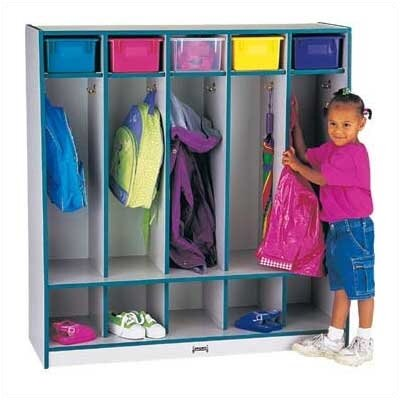 Jonti-Craft Rainbow Accents Coat Locker w/Step - 5 Sections