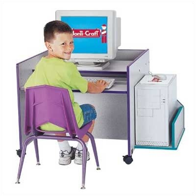 "Jonti-Craft ThriftyKYDZ 30"" W Single Computer Desk with Rainbow Accents"