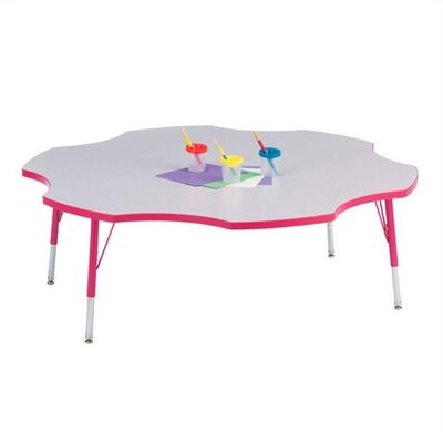 "Jonti-Craft Rainbow Accents KYDZ- Toddler Height Activity Table- Six Leaf(60"" Diameter)"