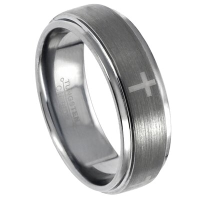 Men's Tungsten Engraved Cross Band Ring